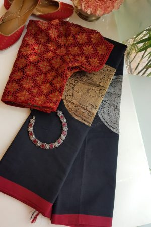Black kanchi cotton saree with gold and silver zari