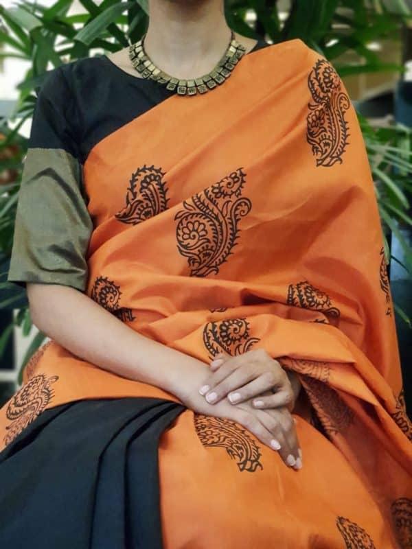 Black silk blouse with gold zari