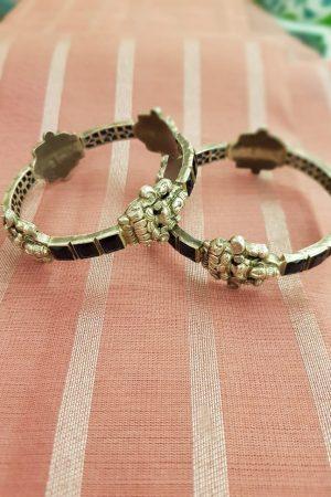 Black stone silver bangles