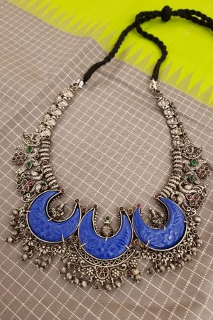 Blue glass pendant silver chain