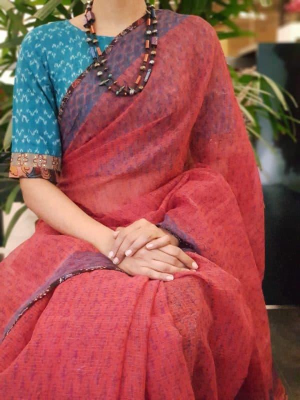 Blue ikat cotton blouse with kalamkari