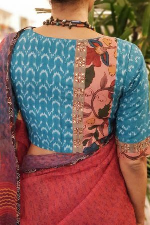 Blue ikat cotton blouse with kalamkari back