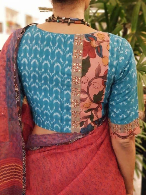 Blue ikat cotton blouse with kalamkari back