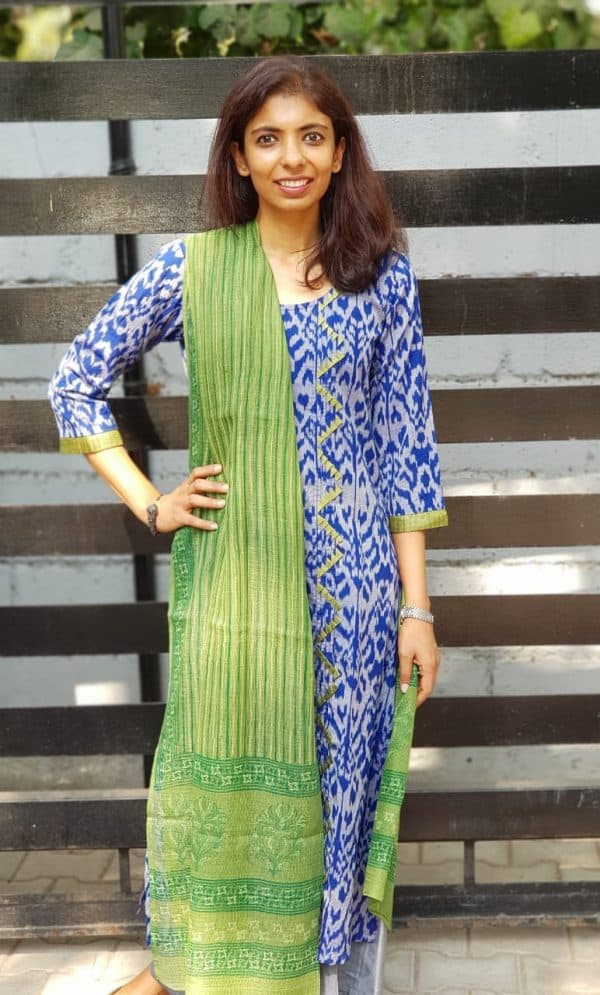 Blue ikat kurta with green kota dupatta