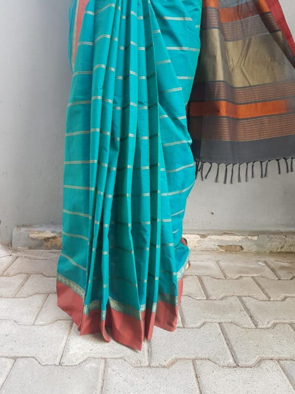 Blue kanchi cotton saree 2