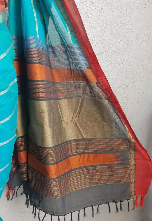 Blue kanchi cotton saree 3