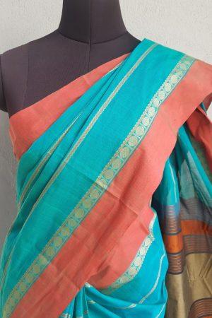 Blue kanchi cotton saree 4