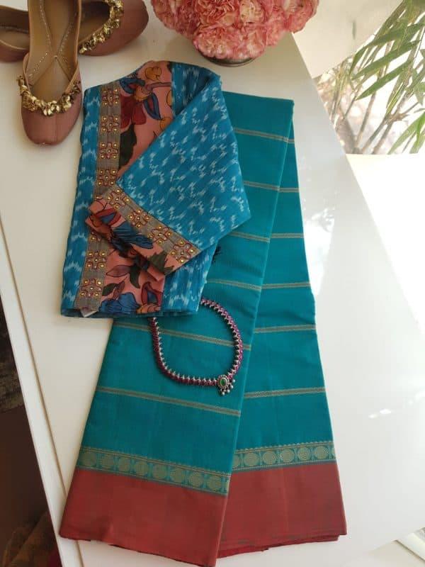 Blue kanchi cotton saree