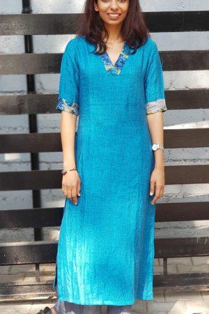Blue linen kurta