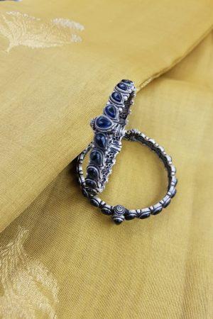 Blue paisley silver bangle