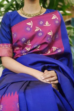 Blue pink gold zari kanchi silk blouse