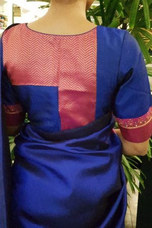 Blue pink gold zari kanchi silk blouse back
