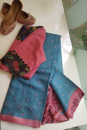 Blue pink kutchwork tussar saree