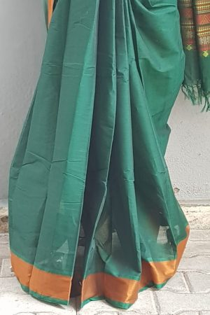 Bottle green kanchi cotton saree with mustard border 2