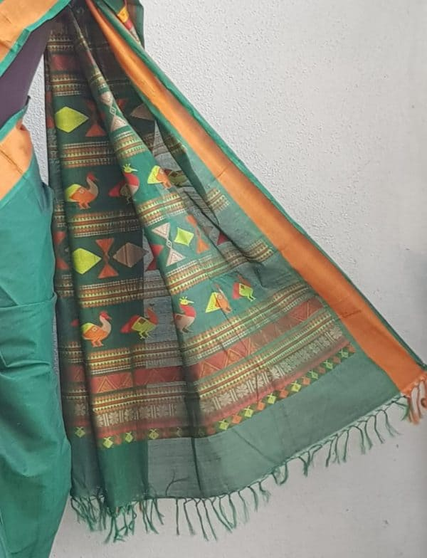 Bottle green kanchi cotton saree with mustard border 3