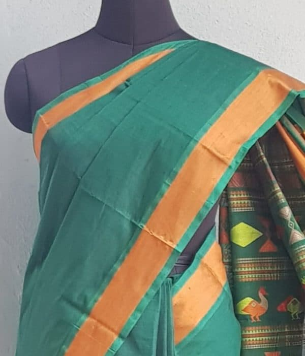 Bottle green kanchi cotton saree with mustard border 4