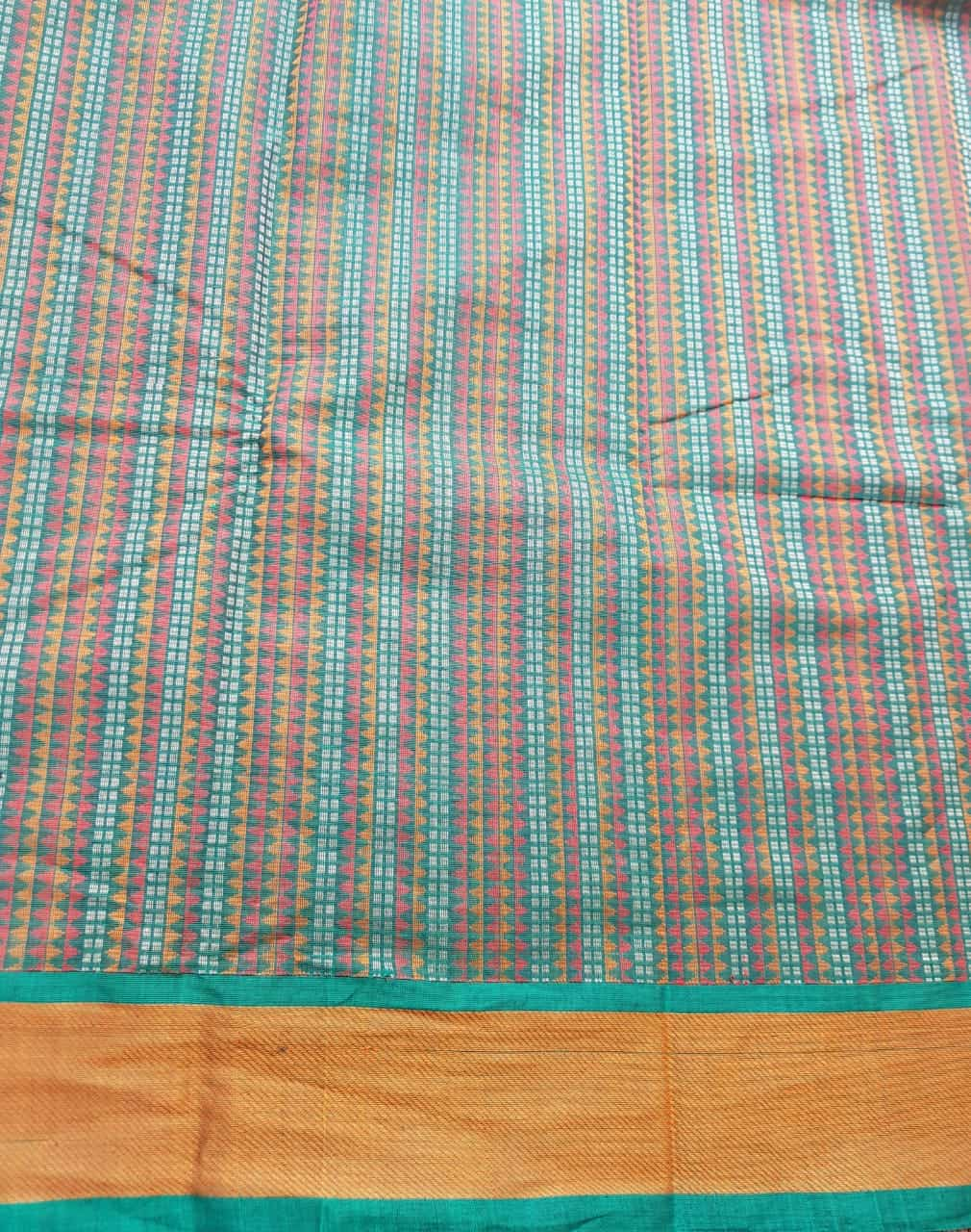 Bottle green kanchi cotton saree with mustard border 5