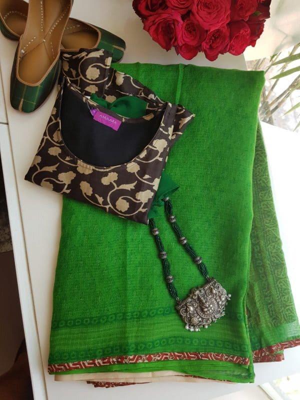 Bright green kota doriya saree