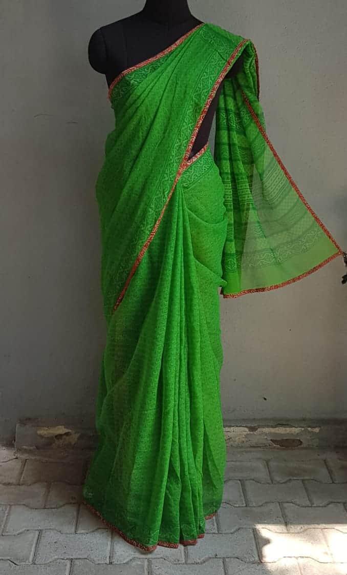Bright green kota doriya saree 2