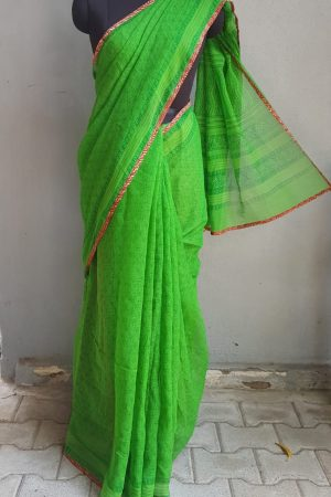 Bright green paisley kota doriya saree 2