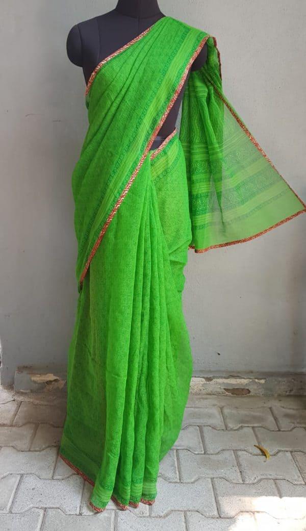 Bright green paisley kota doriya saree 2