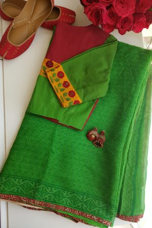 Bright green paisley kota doriya saree