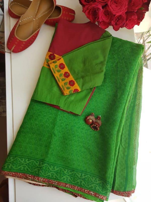 Bright green paisley kota doriya saree