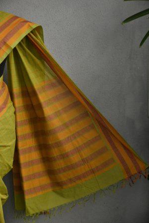 Green kanchi cotton saree 3
