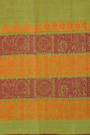 Green kanchi cotton saree 4