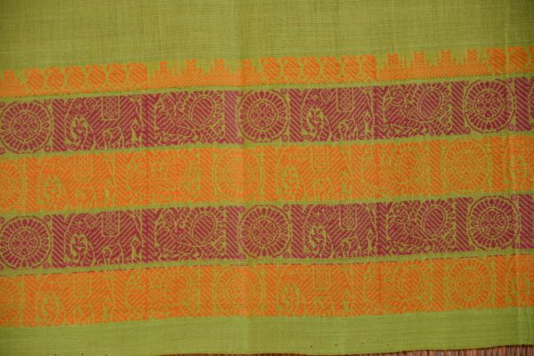 Green kanchi cotton saree 4