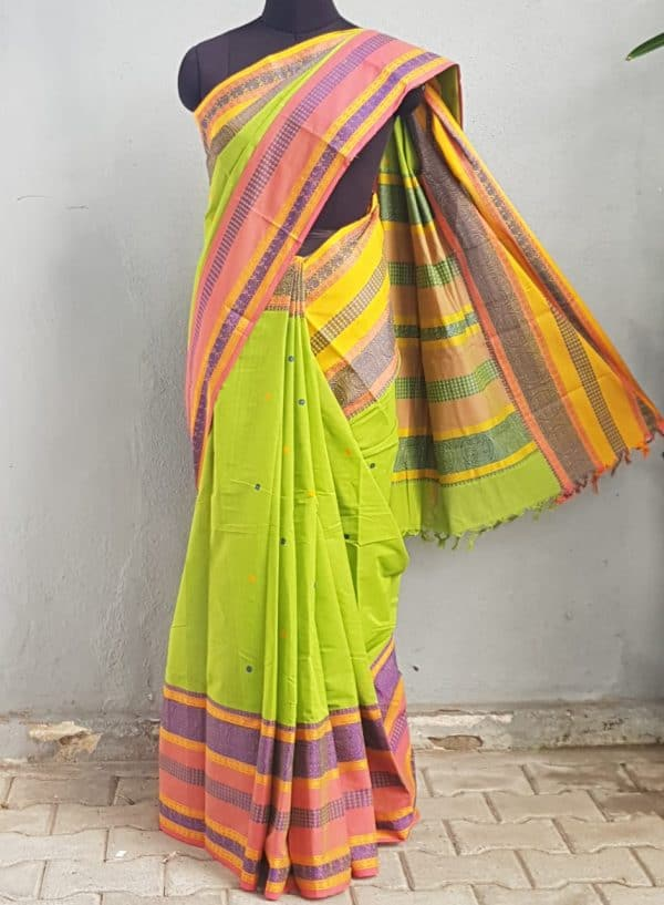 Green long ganga jamuna kancji cotton saree 1