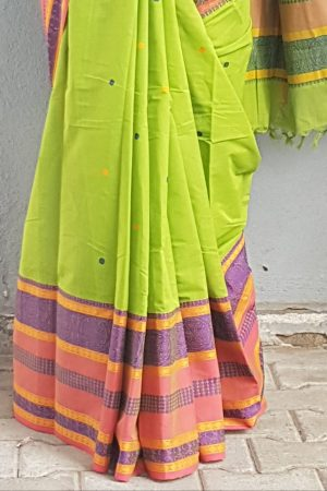 Green long ganga jamuna kancji cotton saree 2