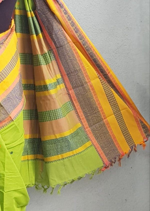 Green long ganga jamuna kancji cotton saree 3