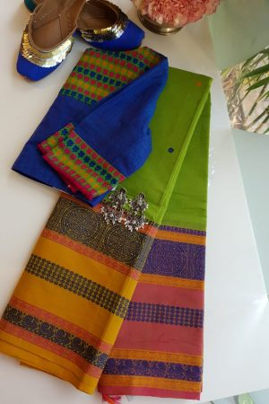 Green long ganga jamuna kancji cotton saree
