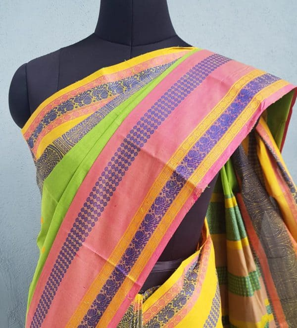 Green long ganga jamuna kancji cotton saree4