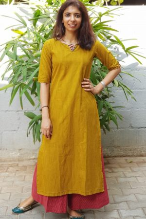 Green ribbed cotton kurta