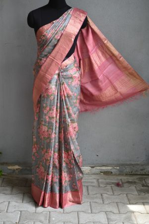 Green with pink zari border floral print tussar sari 2