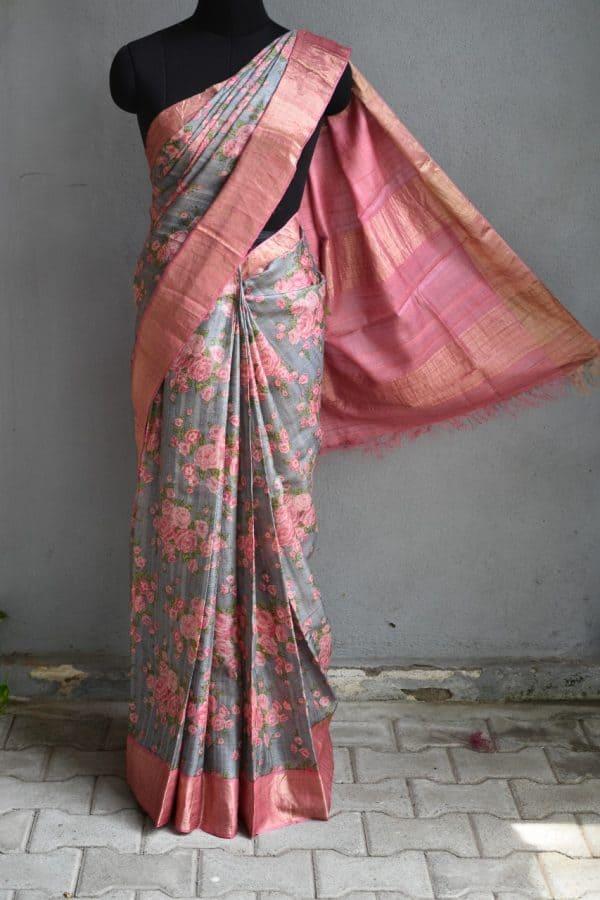 Green with pink zari border floral print tussar sari 2