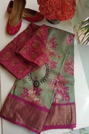 Russian Green with pink zari border floral print tussar sari