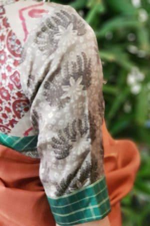 Grey ajrakh silk blouse 3