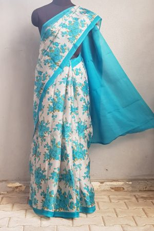 Grey organza saree with blue floral prints 1