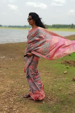 Grey zari border tussar saree with pink floral print