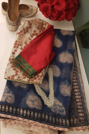 Indigo blue kota doriya saree with leaf design