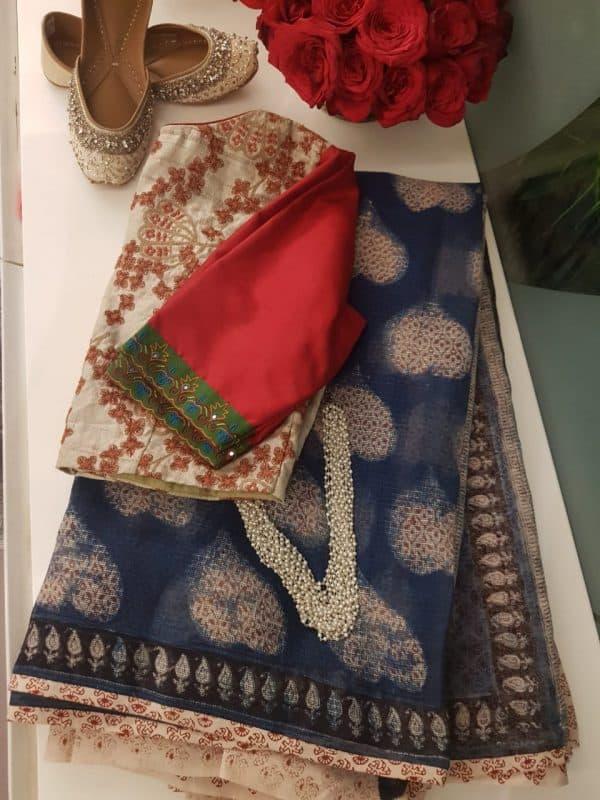 Indigo blue kota doriya saree with leaf design