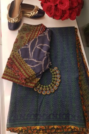 Indigo blue kota doriya saree with mustard border