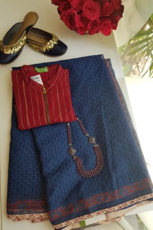 Indigo blue kota doriya saree with rust border
