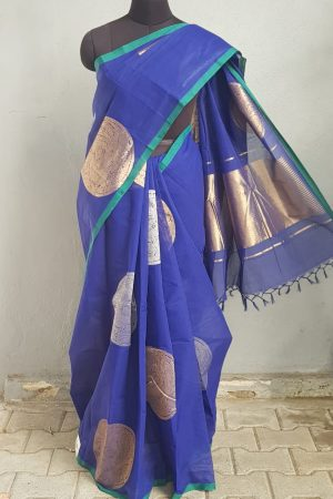 Ink Blue kanchi cotton saree with silver and gold zari 1