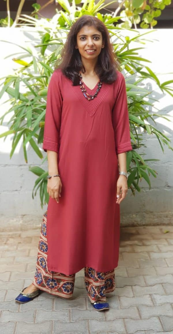 Maroon cotton kurta with kalamkari pants
