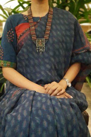 Maroon kalamkari applique blouse