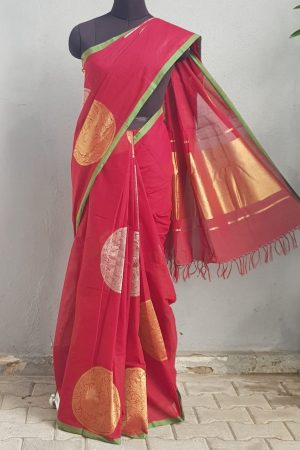 Maroon kanchi cotton saree with gold and silver zari 1